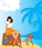 Girl with baggage. Beauty girl with baggage at thr seaside Stock Images