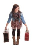 Girl with baggage royalty free stock photos