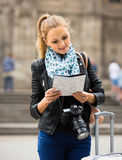 Girl with baggage and city map Royalty Free Stock Photo