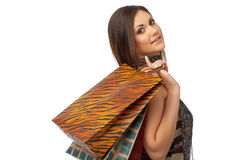 Girl With Bags Stock Images