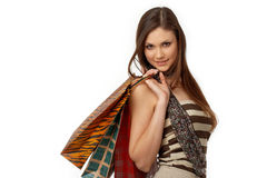 Girl With Bags Stock Photos