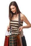 Girl With Bags Royalty Free Stock Photography