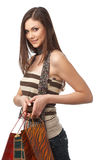 Girl With Bags Royalty Free Stock Photos