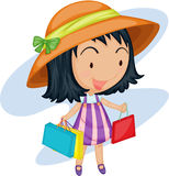 A girl with bags stock illustration