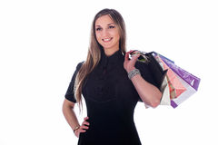Girl with the bags Stock Photography