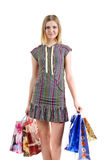 Girl with bags after shopping Stock Images