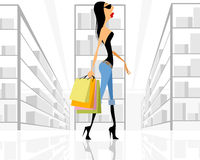 Girl with bags shopping. Vector illustration of a girl with bags shopping royalty free illustration