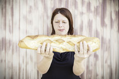 Girl with baguette Royalty Free Stock Image