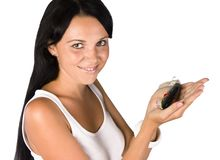 Girl with a bait Stock Image