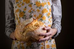 Girl holding fresh white bread royalty free stock photography