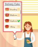 Girl in Bakery Holding Phone with Delivery Cake. vector illustration