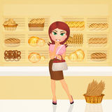 Girl in the bakery. Illustration of girl in the bakery Stock Images