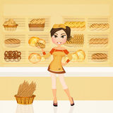 Girl in the bakery. Illustration of woman in the bakery Stock Photos