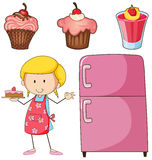Girl baking cake and other desserts Royalty Free Stock Photography