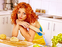 Girl baking cookies in the oven Royalty Free Stock Photography