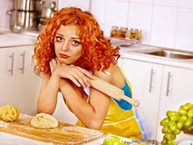 Girl baking cookies in the oven Royalty Free Stock Photo