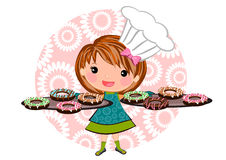 Girl baking doughnut cartoon. Cute little girl doughnut cookies cartoon illustrations concept vector Royalty Free Stock Photography