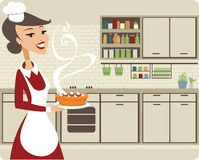 Girl baking pie. Young woman in the kitchen baking pumpkin pie royalty free illustration