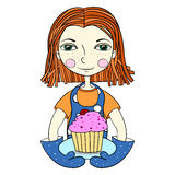Girl with baking. Vector Royalty Free Stock Photography