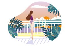 Girl on balcony waiting. And looking at sea. Vector illustration Stock Photography