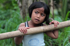 Girl in Bali forest Stock Images