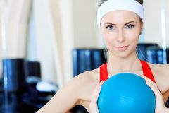 Girl with a ball Stock Images