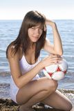 Girl with a ball Stock Photos