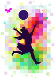 Girl with ball. Happy girl running with the ball while playing Stock Photo