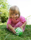 The girl with an ball. The girl plays a ball Royalty Free Stock Photos