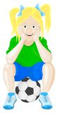 Girl on ball. Girl sittin on a soccer ball royalty free illustration
