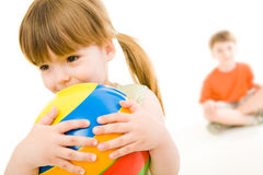 Girl with ball Royalty Free Stock Images