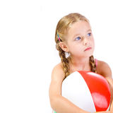 Girl and ball. Young girl with big ball Stock Photos
