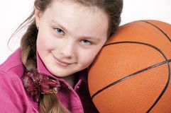 Girl and ball royalty free stock photos