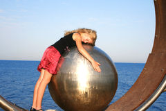 Girl on the ball stock images