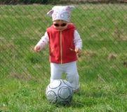 Girl with ball. Girl with soccer ball stock photos