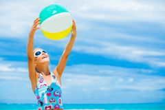 Girl with ball on the beach Royalty Free Stock Photo