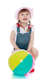Girl with ball Royalty Free Stock Image