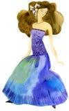Girl in a ball dress stock illustration
