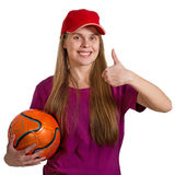 Girl with ball isolated Royalty Free Stock Photography