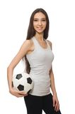 A girl with ball isolated on the white Stock Images