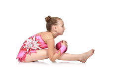 Girl with ball. Little girl gymnast with pink ball Stock Images