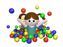 Girl in ball pool Stock Photo