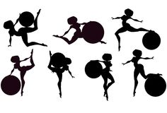 Girl and ball silhouettes. Illustration:set of  girls with gymnastic balls silhouettes Royalty Free Stock Photos