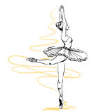 Girl ballerina shows ballet performance Royalty Free Stock Photo