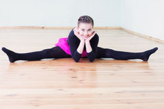 Girl at the ballet class. Beautiful girl at the ballet class royalty free stock photos