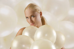 Girl with ballons Royalty Free Stock Images