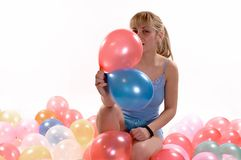 Girl ballons Stock Images