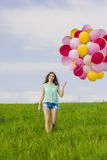 Girl with Ballons Stock Photography