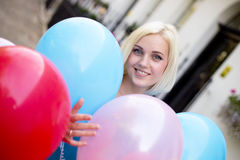 Girl with ballons Royalty Free Stock Photos