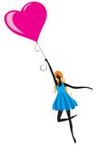 Girl with the balloon vector illustration